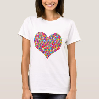 Colorful Dynamic Heart-Filled Heart T-Shirt