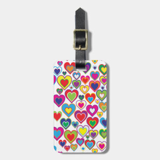 Colorful Dynamic Rainbow Hearts in Hearts Pattern Luggage Tag