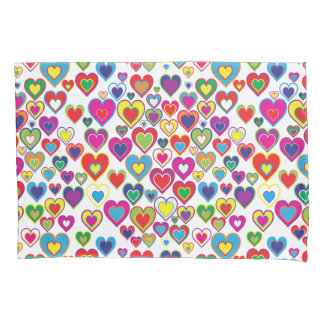 Colorful Dynamic Rainbow Hearts in Hearts Pattern Pillowcase