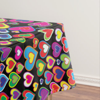 Colorful Dynamic Rainbow Hearts in Hearts Pattern Tablecloth