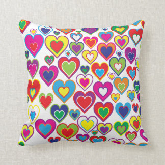 Colorful Dynamic Rainbow Hearts in Hearts Pattern Throw Pillow