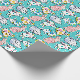 Colorful Easter Bunnies Wrapping Paper