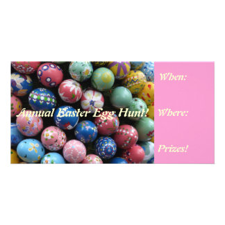 Colorful Easter Egg Hunt Invites Photo Cards
