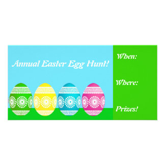 Colorful Easter Egg Hunt Invites Photo Greeting Card