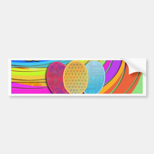 Colorful Easter Eggs and Bunny Rabbits Bumper Sticker