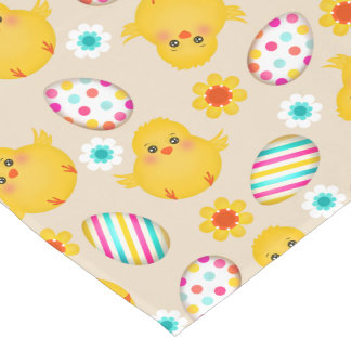 Colorful Easter Eggs and Chicks Pattern Short Table Runner