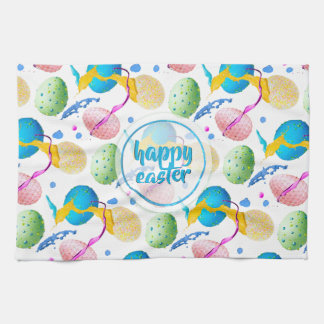 Colorful Easter Eggs and Paint Splash Kitchen Towel