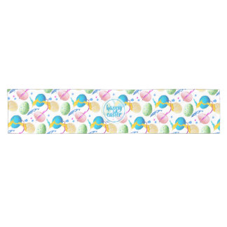 Colorful Easter Eggs and Paint Splash Short Table Runner