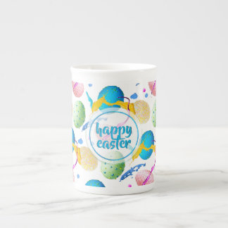 Colorful Easter Eggs and Paint Splash Tea Cup