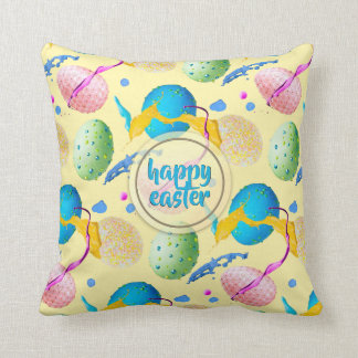 Colorful Easter Eggs and Paint Splash Throw Pillow
