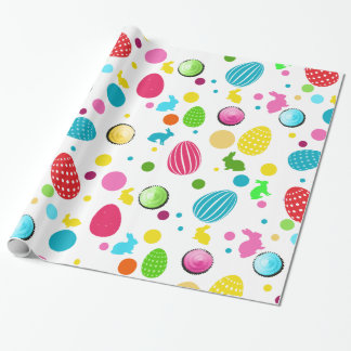 Colorful Easter Eggs , Bunnies, Cupcakes and Dots Wrapping Paper