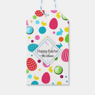 Colorful Easter Eggs , Bunnies, Cupcakes Monogram Gift Tags
