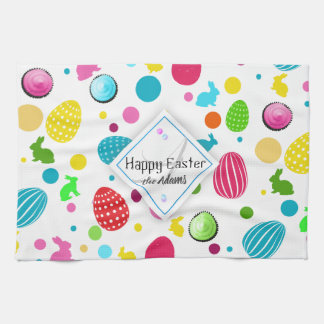 Colorful Easter Eggs , Bunnies, Cupcakes Monogram Kitchen Towel