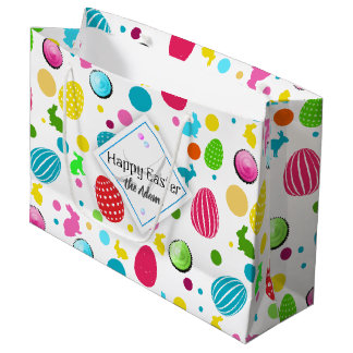 Colorful Easter Eggs , Bunnies, Cupcakes Monogram Large Gift Bag