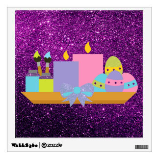 Colorful Easter Eggs & Candles Purple Faux Glitter Wall Decal