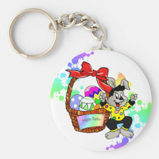 Colorful Easter eggs in basket easter bunny Basic Round Button Keychain
