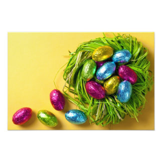 Colorful Easter Eggs In Green Nest Photograph
