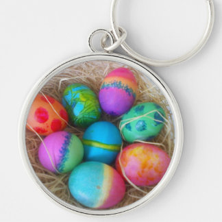 Colorful Easter Eggs Silver-Colored Round Keychain