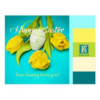 Colorful Easter Stripes Photo Monogram Postcard
