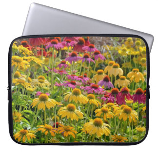 Colorful echinacea floral print laptop sleeves