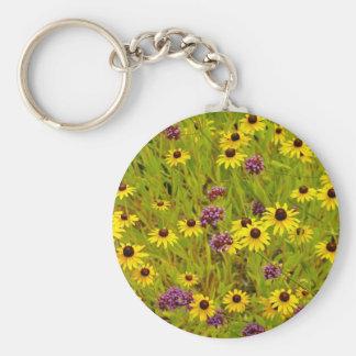 Colorful echinacea flower garden print basic round button keychain