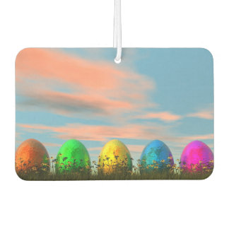 Colorful eggs for easter - 3D render Car Air Freshener