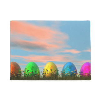 Colorful eggs for easter - 3D render Doormat