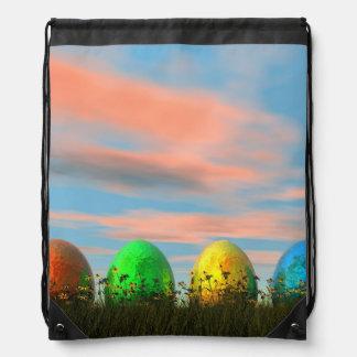 Colorful eggs for easter - 3D render Drawstring Bag
