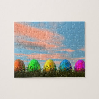 Colorful eggs for easter - 3D render Jigsaw Puzzle