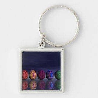 Colorful eggs for easter - 3D render Keychain