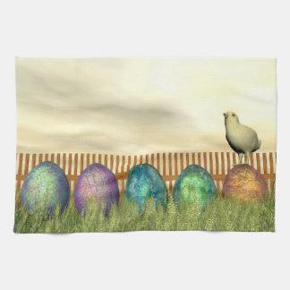 Colorful eggs for easter - 3D render Kitchen Towel