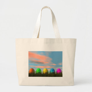 Colorful eggs for easter - 3D render Large Tote Bag