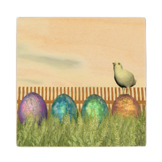 Colorful eggs for easter - 3D render Maple Wood Coaster
