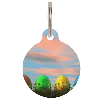 Colorful eggs for easter - 3D render Pet Name Tag