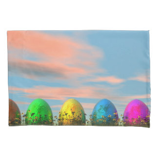 Colorful eggs for easter - 3D render Pillowcase