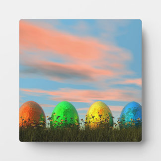 Colorful eggs for easter - 3D render Plaque