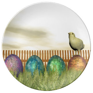 Colorful eggs for easter - 3D render Plate