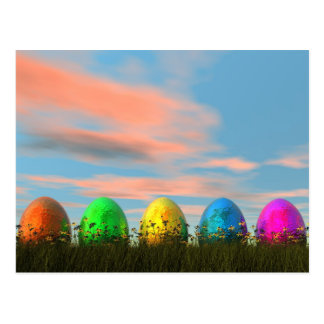 Colorful eggs for easter - 3D render Postcard