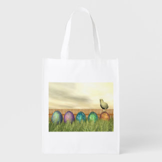 Colorful eggs for easter - 3D render Reusable Grocery Bag
