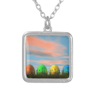 Colorful eggs for easter - 3D render Silver Plated Necklace