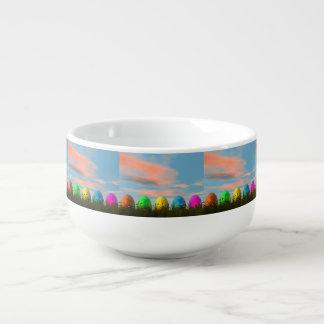 Colorful eggs for easter - 3D render Soup Mug