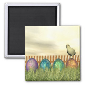 Colorful eggs for easter - 3D render Square Magnet