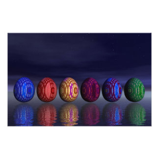 Colorful eggs for easter - 3D render Stationery