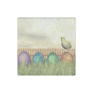 Colorful eggs for easter - 3D render Stone Magnets