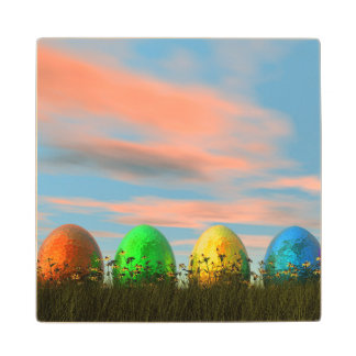 Colorful eggs for easter - 3D render Wood Coaster