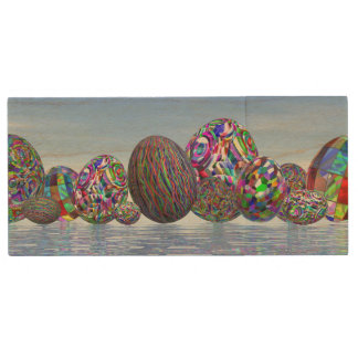 Colorful eggs for easter - 3D render Wood USB Flash Drive