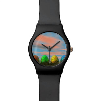 Colorful eggs for easter - 3D render Wrist Watch