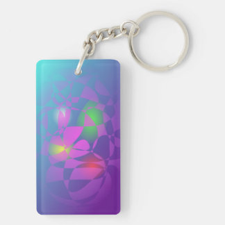 Colorful Eggs in a Basket Double-Sided Rectangular Acrylic Keychain