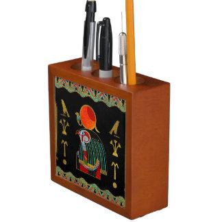 Colorful Egyptian Horus Ornament on Black Glass Desk Organizer