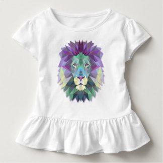 Colorful Elegant Abstract Lion Polygon Ruffle Tee